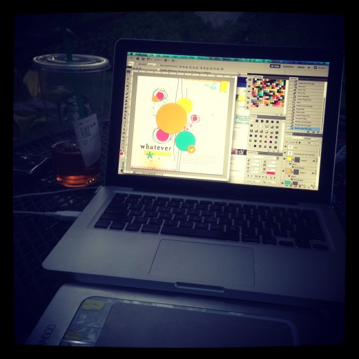 Designing on the patio.