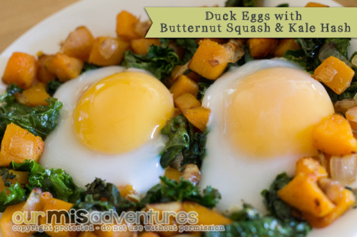 Paleo Duck Eggs with Butternut Squash and Kale Hash