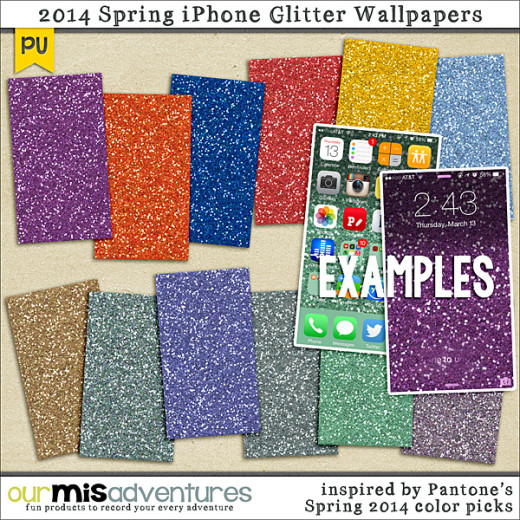 Free Spring 2014 Pantone Glitter Smart Phone Wallpapers