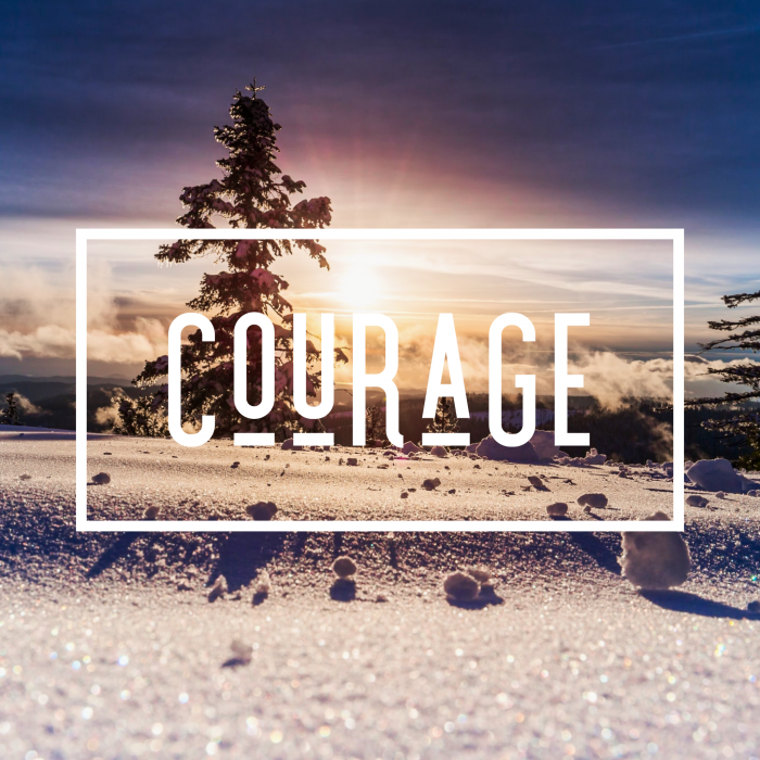"The word ""courage"" overlaid on a photo of a wintery mountain scene with a sunset in the background."